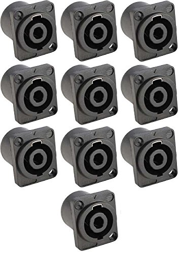 10x Adam Hall 7876 - PA Lautsprecher Einbaubuchse 4-polig, Speaker Lautsprechereinbaubuchse