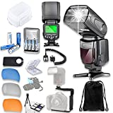 TTL Speed Light Flash for Canon DSLR Cameras Including EOS Rebel T3, T4, T6, T7, T1i, T2i, T3i, T4i, T5i, T6i, T7i + TTL Cord + L-Bracket + Flash Diffusers + 4 AA Rechargeable Batteries + Accessories