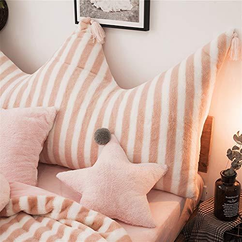 Liveinu Krone Fleece Kopfteil Kissen mit Pompons Bett Rückenkissen Rückenlehne Palettensofa Kissen Für Bett Sofa Couch Waschbar Dekorationskissen Streifen Rosa 80x150cm