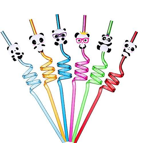 Ulife Mall 6 Pezzi Cannucce a Forma di Panda, Cannucce in Plastica Rigida Riccia Cannucce Colorate Riutilizzabili per Bambini, Decorazioni per Feste di Compleanno Forniture per Feste