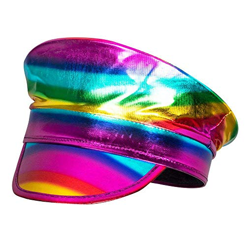 Boland 44737 - Kapitän Mütze Rainbow, Holographic, Regenbogen, Parade, Christopher Street Day, Bad Taste Party, Mottoparty, Karneval