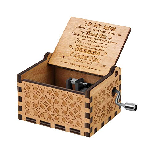 RUYE You are My Sunshine Music Box Wood Personalizable Music Box, Laser Engraved Vintage Wooden Sunshine Musical Box Gifts for Birthday/Christmas (Daughter to Mother)