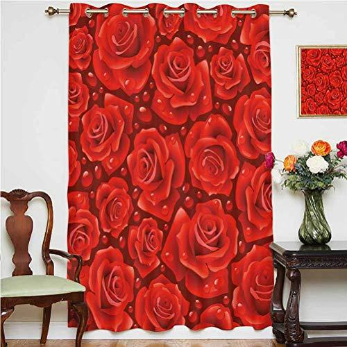 Cortinas opacas para puerta de patio con diseño de rosas rojas románticas inspirado en césped de rocío y parte trasera térmica deslizante de cristal, 160 x 160 cm, para oficina verm rubí