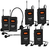 Anleon MTG100 902mhz-927mhz Tour Guide Wireless System Church System Translation Equipment simultaneous Interpretation Equipment (1 Transmitter and 5 Receivers)
