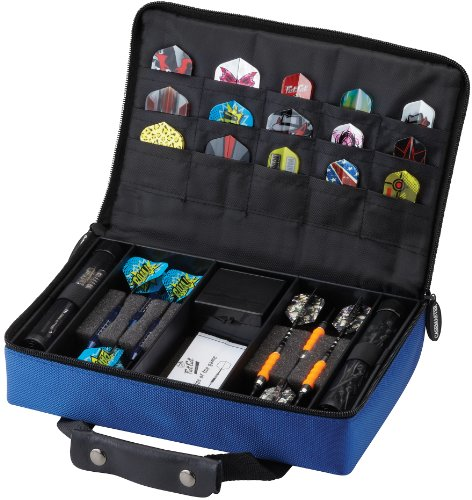 Casemaster Classic Nylon Dart Carrying Case for Steel and Soft Tip Darts, Holds 12 Darts Numerous Other Accessories via Generous Storage Pockets, Tubes and Boxes