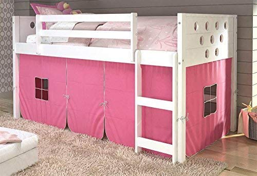 Donco Kids 79 in. Twin Circles Low Loft Bed with Pink Tent,