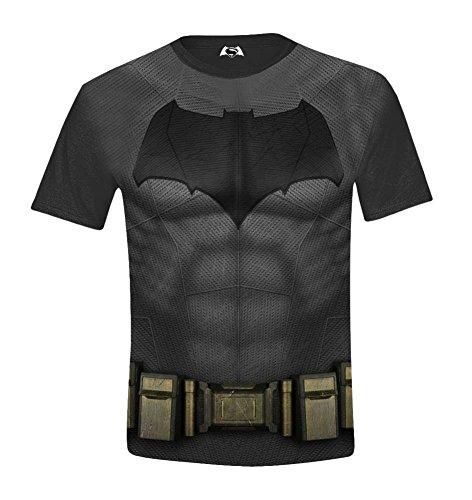 Batman V Superman Body Costume Full Printed Camiseta, Negro, 12 Años para Niños