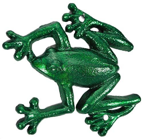 Trends & Trade Figura decorativa de rana de hierro fundido verde metálico, 15 x 13 cm, decoración clásica GTT F114