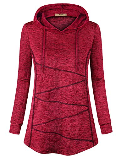 Miusey Shirts for Women,Ladies Workout Pullover Hoodies Sport Gym Wear Yoga Fitness Outwear Soft Flowy Flate Hem Stylish Outfit Running Long Sleeve Tee Shirts Wine L