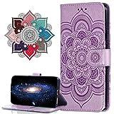MRSTER Funda para LG Q60, Estampado Mandala Libro de Cuero Billetera Carcasa, PU Leather Flip Folio Case Compatible con LG Q60 / LG K50. LD Mandala Purple