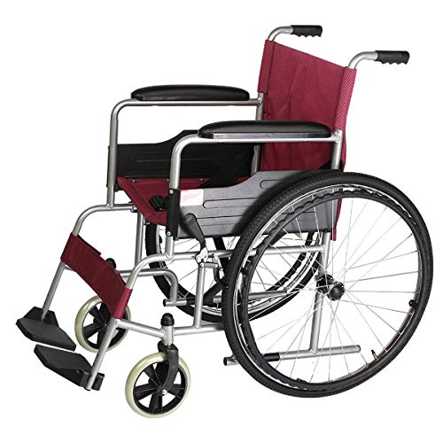GGXX Wheelchair Aluminum Transport Wheelchair With 19 Inch Seat - Foldable Wheelchair For Transporting And Storage