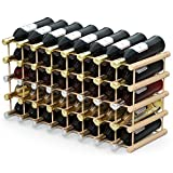 Giantex 40 Bottle Wine Rack Wine Bottle Display Shelves Wood Stackable Storage...