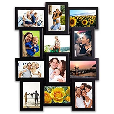 14 by 26 inch  Gallery Collage Wall Hanging Photo Frame For 4 x 6  inch Photo, 12 Photo Sockets, Black Edge | By Hello Laura