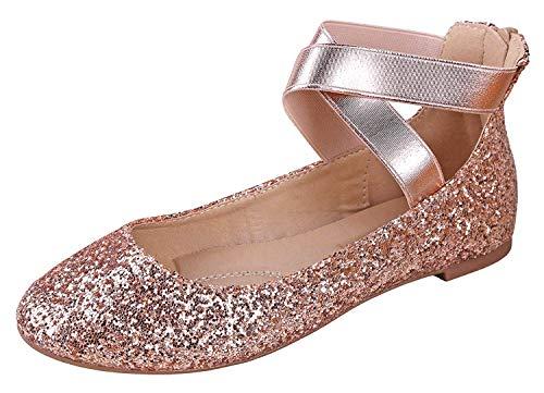 ANNA Dana-20 Women's Classic Ballerina Flats with Straps, Champagne Glitter 7.5