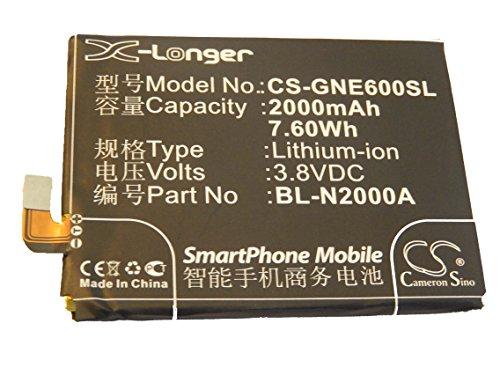 vhbw Li-Ion batería 2000mAh (3.8V) para Smartphone, teléfono móvil, teléfono celular Blu L240A, L240i, Life Pure por BL-N2000A.