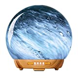 COOSA Glass Essential Oil Diffuser, 250ml Aromatherapy Fragrance Diffuser & Ultrasonic Cool Mist Humidifier with 4 Timer,2 LED Colors and Waterless Auto Shut-Off Settings, BPA-Free