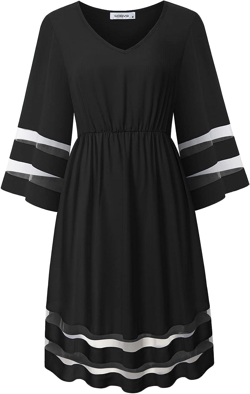 MOQIVGI Womens V Neck Mesh Panel 3/4 Bell Sleeve Empire Waist Dressy Casual Chiffon Dresses