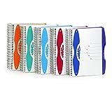trendiges Notizbuch mit 6-Fach Unterteilung, 150 Blatt, DIN A4 / A5 / A6, liniert oder kariert, PP-Umschlag, Spiralbindung, Spiral-Notizbuch mit Hardcover (DIN A5 - kariert, orange)
