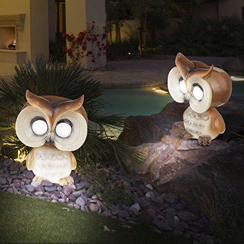 2er Set LED Außen Solar Lampen Eule beweglich Garten Deko Strahler braun beige Beet Leuchten Akku