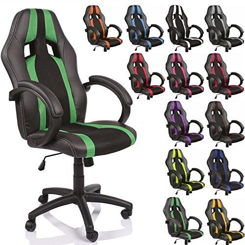 TRESKO Poltrona Sedia direzionale da ufficio Racer classe di lusso - disponibile in diversi colori (nero/verde)