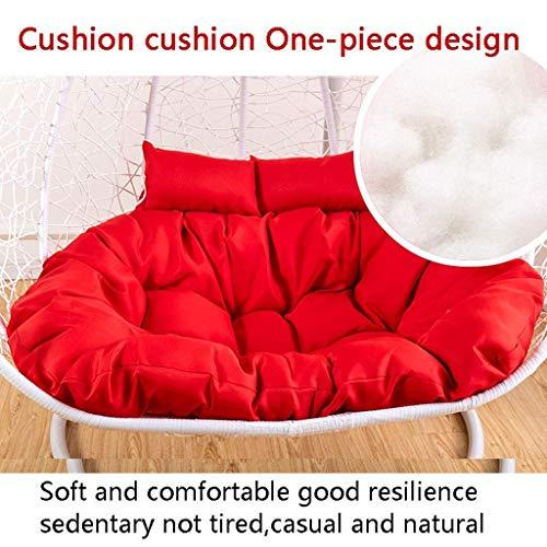 Balançoire Suspendue Panier Coussin, Hanging Garden Patio extérieur en rotin Balancelle Coussin, 135x95cm (53 Pouces x 37 Pouces) (Couleur: Beige) (NO Chaise) WKY (Color : Red)