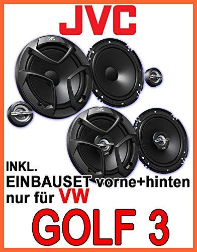 JVC CS-J Komplettset für vorne & hinten - Lautsprecher Einbauset für VW Golf 3...