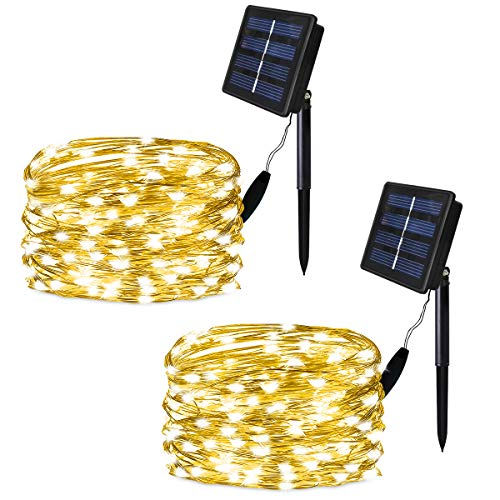 Solar String Lights , Amzxart 2 Pack 33Ft 100 LED Solar Fairy Lights , 8 Modes Waterproof Outdoor Solar Christmas Lights for Patio Yard Trees Christmas Wedding Party (Warm White)