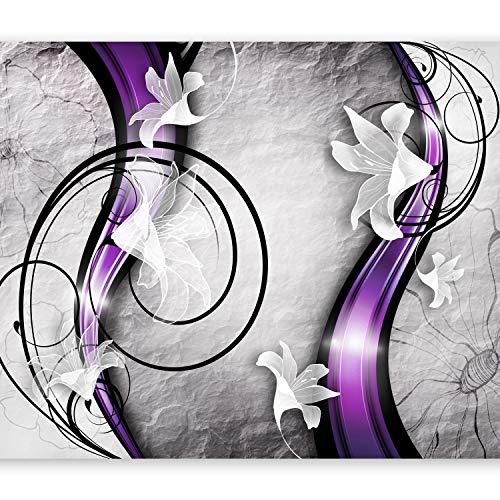 murando Fototapete Blumen Lilien 400x280 cm Vlies Tapeten Wandtapete XXL Moderne Wanddeko Design Wand Dekoration Wohnzimmer Schlafzimmer Büro Flur Betonoptik Abstrakt Ornament violett a-A-0037-a-c