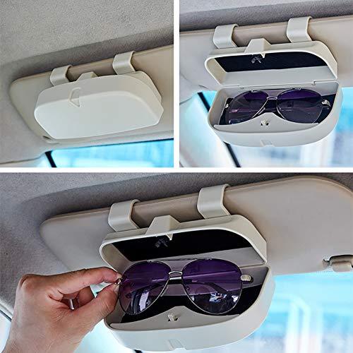 MoKo Caja de Gafas para Coche Universal Estuche para Gafas de Sol con Clip y Bolsillo de Inserci/ón de Tarjetas para Visera de Auto Soporte de Gafas de Autom/óvil Gris