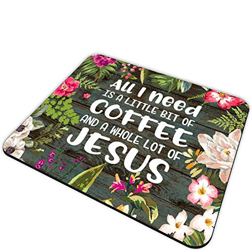 Gaming Mouse Pad and Coasters Set,All I Need Today is A Little Bit of Coffee and A Whole Lot of Jesus Quote Wood Rustic Mousepad,Non-Slip Rubber Rectangle Mouse Pad