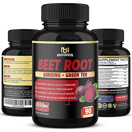 Beet Root Extract Capsules - 8550mg Herbal Equivalent - Natural Nitric Oxide Booster - Supports Blood Pressure, Digestive, Immune System - with Green Tea, Red Spinach, Ginseng - 3 Months Supply