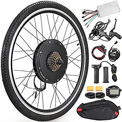 "Anbull 26"" Rear Wheel E-Bike Conversion Kit, 48V 1500W Electric Bicycle Powerful Hub Motor Kit with Intelligent Controller and PAS System"