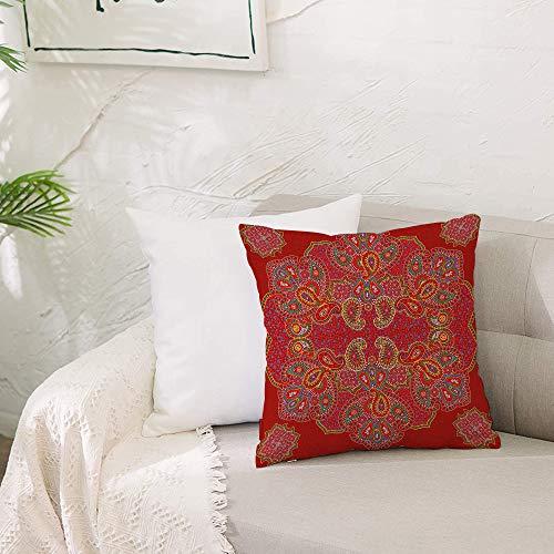 Fundas de cojín para con Cremallera Invisible PoliésterAlmohada Caso de,Mandala, diseño persa marroquí, estampado floral rectangul,Dormitorio o Coche Decorativas Fundas Cojines 19 x 19inch 50 x 50cm