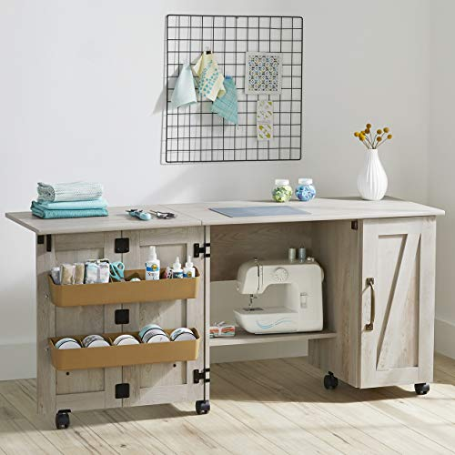 Wooden Folding Sewing Cabinet, Multifunction Large Sewing Craft Table...