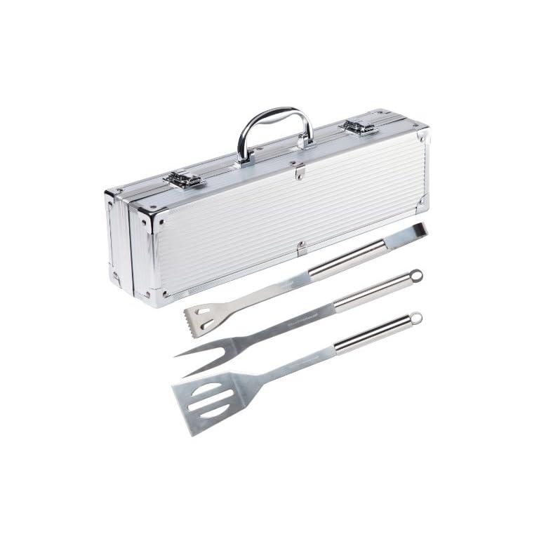 Ultranatura-200100000075-Set-di-3-Posate-Acciaio-Inox-in-Valigetta-di-Alluminio-Imbottita-Utensili-e-Accessori-per-Barbecue