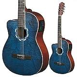 Guitare électro-acoustique « Picasso » de Lindo pour gaucher, en épicéa naturel (960CE) - Avec étui de rangement - Coloris bleu