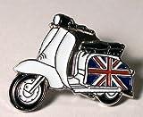 Anstecker aus emailliertem Metall, Motiv: Roller, Lambretta mit britischer Flagge/Union Jack