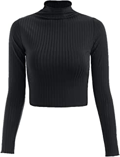 Women's Basic Solid Color Sexy Crop Top Long Sleeve Turtleneck Casual Crop Top Knitting Shirts