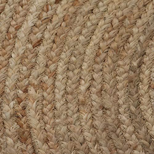 vidaXL Teppich Handgefertigt Jute Geflochten 120cm Rund Wohnzimmerteppich - 2