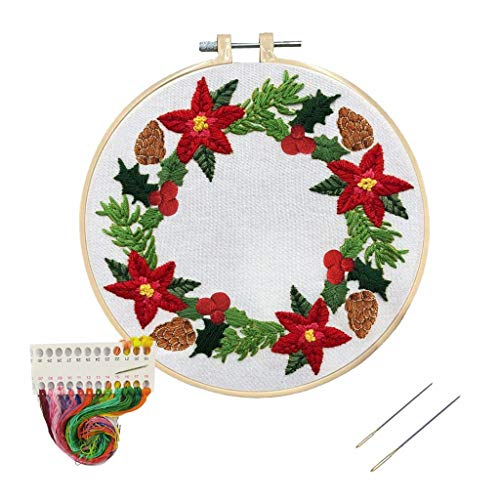 Louise Maekys Christmas Embroidery Kit for Beginners Adult Christmas Wreath Cross Stitch Kits for Decor Gifts