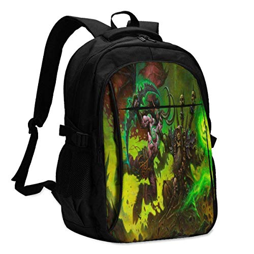 World Warcraft Gul?ˉDan Backpack Travel Laptop Backpack with USB Charging Port Headphone Interface College Bookbag for Women Men Boys Business Travel Anti Theft Backpack
