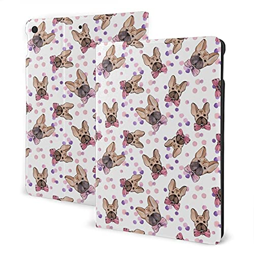 French Bull Dog Pink Purple Case for iPad 8th Generation Case 10.2 inch Smart Cover with Auto Wake/Sleep Slim Stand Hard Back