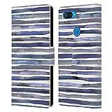 Head Case Designs sous Licence Officielle Ninola Bleu Aquarelle Rayures Coque en Cuir à...