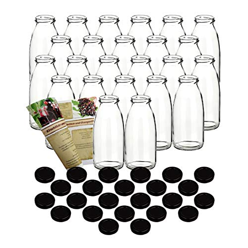 gouveo 24er Set Saftflaschen 250 ml incl. Schraubverschluss Schwarz und 28-seitige Flaschendiscount-Rezeptbroschüre Glasflaschen Likörflasche Schnapsflasche…