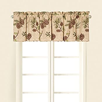 C&F Home Woodland Retreat Valance Window Treatment Curtains Pinecone Decor Cabin Rustic Lodge Brown Green Cotton for Living Room Kitchen Valance Set of 2 Tan