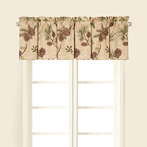 C&F Home Woodland Retreat Curtain Valance Window Treatment Curtains Pinecone Decor Decoration Cabin Rustic Lodge Brown Green Cotton for Living Room Kitchen Valance Set of 2 Tan