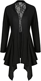 Benficial Womens Ladies Cardigan Solid Long Sleeve Lace Patchwork Coat Outerwear