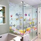 ZackLiz Baño Pegatinas de Azulejos a Prueba de Agua Papel de Ventana sin Pegamento sin Pegamento baño estático película de Vidrio Dibujos Animados Mundo Submarino Pescado@UNA_60 * 80