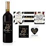 5 Wedding Anniversary Wine Label Stickers for 20th 25th 30th 40th 50th...