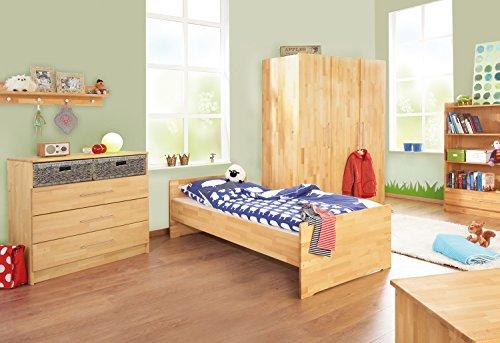 Pinolino Jugendzimmer Natura breit groß, 3-teilig, Jugendbett (200 x 90 cm), breite Kommode mit und Kleiderschrank, Buche massiv, geölt (Art.-Nr. 10 21 74 JBG)